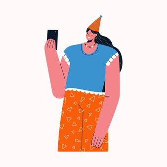 Femme prend des photos sur smartphone