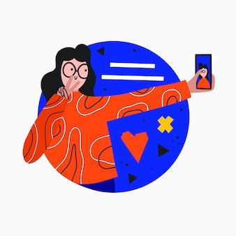 Une femme prend un selfie sur un site de rencontre