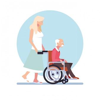Femme, prendre soin, vieil homme