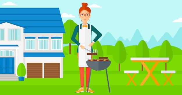 Femme prépare barbecue