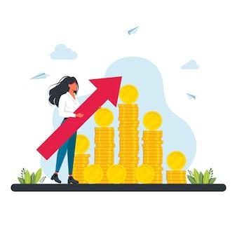 Femme près de piles de pièces d'or avec une grande flèche pointant vers le haut. les gens collectent et économisent de l'argent concept. succès financier, épargne en investissant de l'argent. illustration vectorielle plane de dessin animé