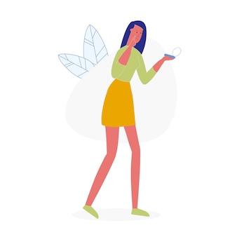 Femme, presser, bouton, plat, vecteur, illustration