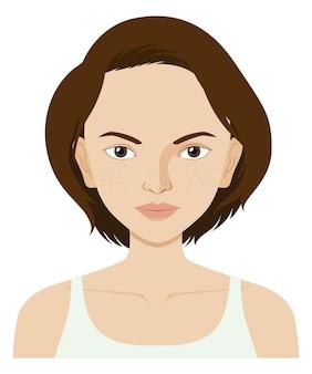Femme avec problème de peau du visage