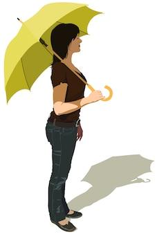 Femme, profil, tenue, parapluie