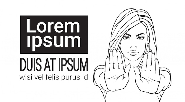 Femme, projection, signe stop, à, main levée croquis, portrait, femme, aucun geste, sur, fond blanc
