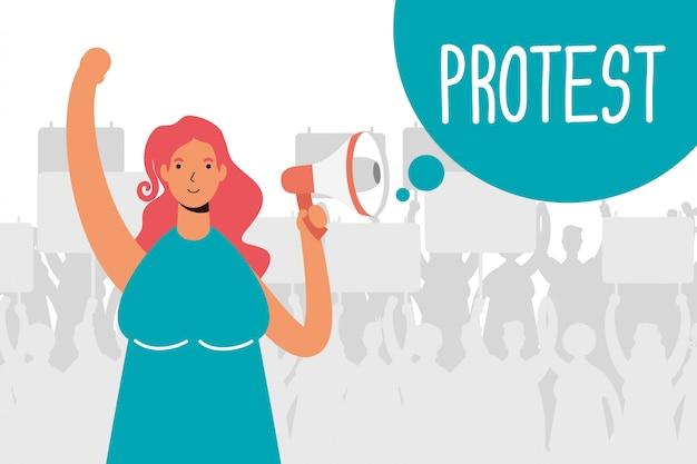 Femme protestant avec illustration de mégaphone