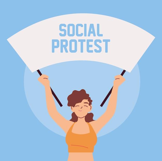 Femme en protestation sociale avec bannière