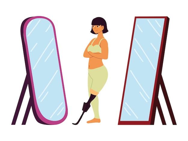 Femme prothèse miroir acceptation de soi