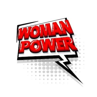 Femme puissance bande dessinée texte rouge collection effets sonores style pop art vecteur bulle de dialogue