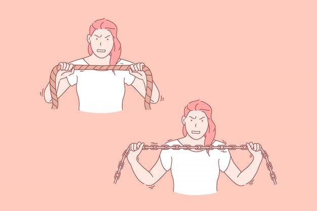 Femme, puissance, endurance, ensemble, illustration