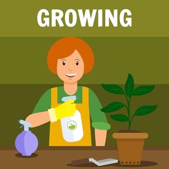Femme, pulvérisation, plante, vecteur, illustration