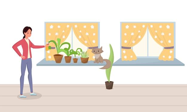 Femme, pulvérisation, plantes pot, plat