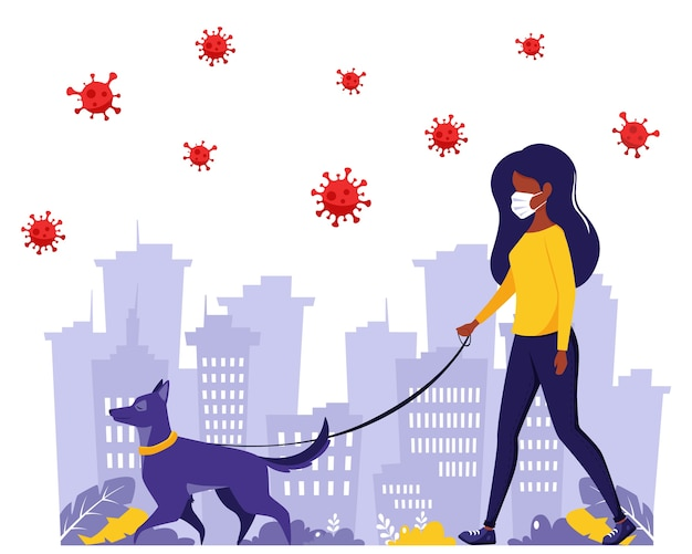 Femme qui court avec un chien pendant la pandémie