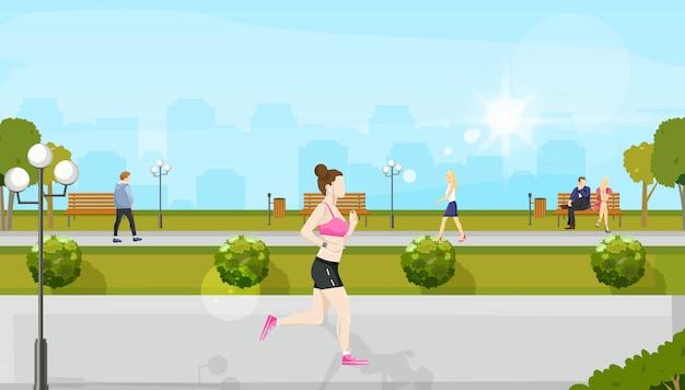 Femme qui court dans le parc