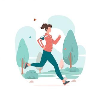 Femme qui court pendant la formation de remise en forme dans l'illustration du parc.