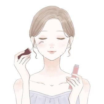Une femme qui grandit en appliquant du sérum pour cils sur ses cils. sur un fond blanc.