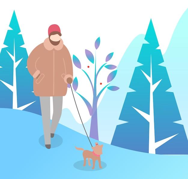 Femme qui marche avec un chien dans le parc d'hiver vector