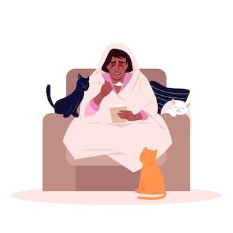 Femme qui pleure, manger des glaces semi-plates rvb couleur illustration