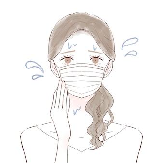 Une femme qui souffre de vapeur à cause du port d'un masque. sur un fond blanc.