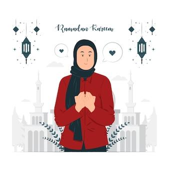 Femme, sur, ramadan kareem, concept, illustration