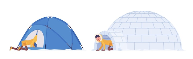 Femme de randonnée d'hiver dans un refuge