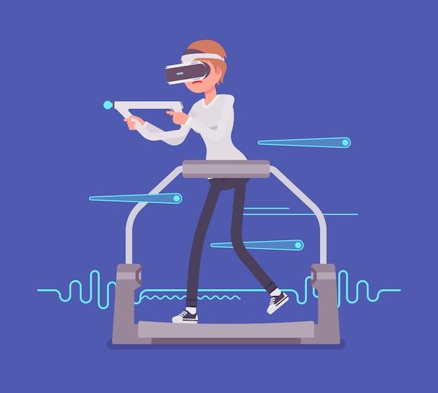 Femme de réalité virtuelle avec contrôleur d'objectif sur tapis roulant de jeu