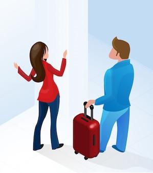 Femme réceptionniste bienvenue touristique avec valise