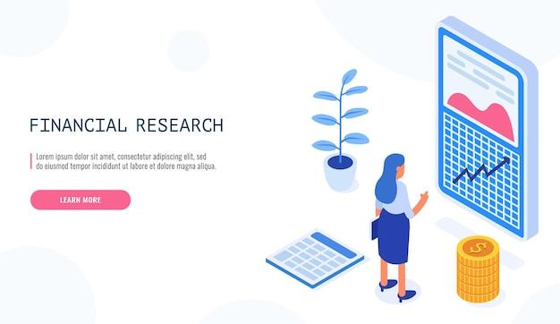 Femme à la recherche sur les graphiques financiers