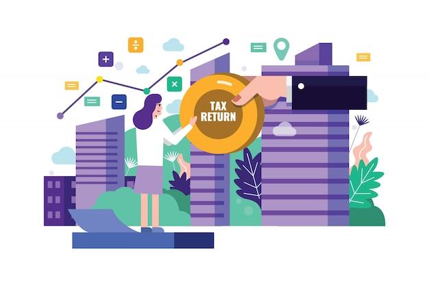 Femme reçoit la déclaration d'impôt