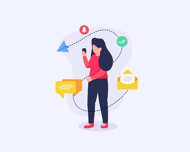Une femme reçoit des notifications sur les réseaux sociaux avec des icônes associées qui se propagent avec des icônes modernes
