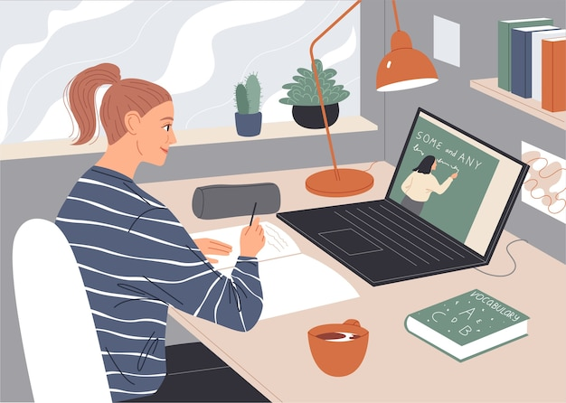 Femme regardant une conférence vidéo sur écran d'ordinateur portable.
