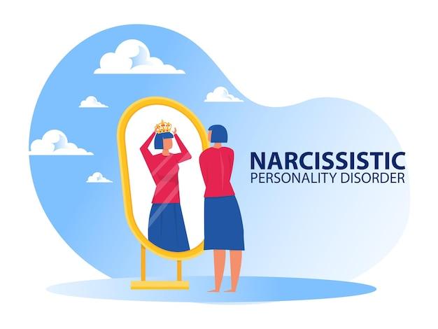 Femme regardant le miroir elle-même avec des symptômes de trouble de la personnalité narcissique