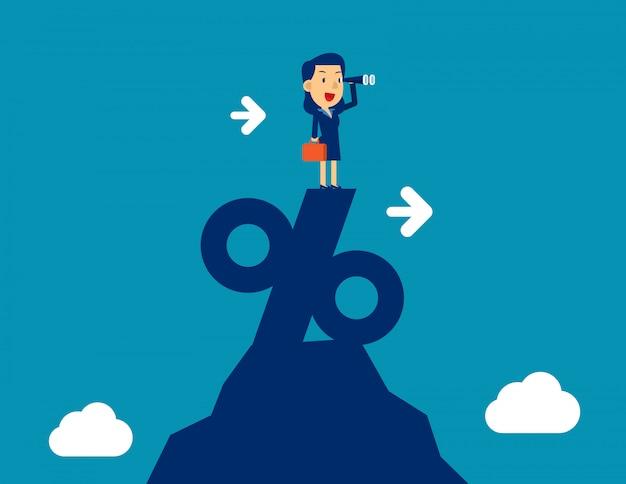Femme regardant à travers le télescope se tenant au sommet du signe de pourcentage. illustration vectorielle de concept marketing entreprise, réussie