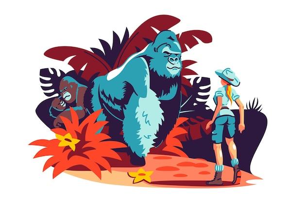 Une femme rencontre un gorille