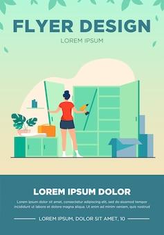 Femme réparant une armoire avec une perceuse à main. porte, bois, illustration vectorielle plane d'assemblage. concept de mobilier et de rénovation