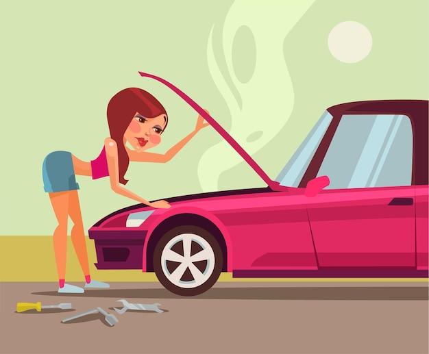 Femme réparant l'illustration de dessin animé plat de voiture