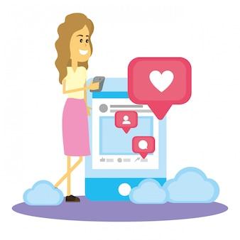 Femme sur les réseaux sociaux