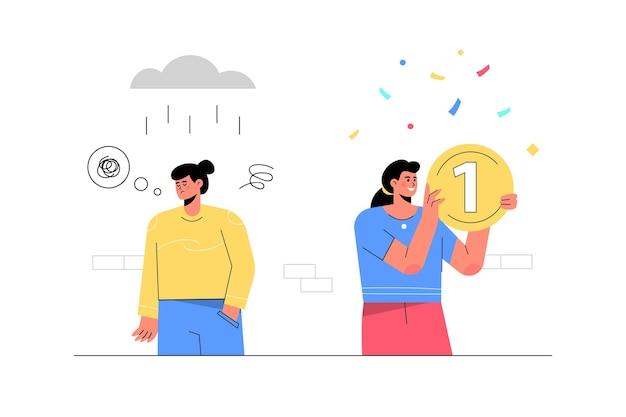 Femme réussie tenant de l'argent à côté d'une femme qui n'a pas réussi avec une tempête de pluie.