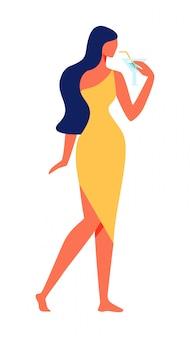 Femme en robe jaune sur fond blanc. vecteur