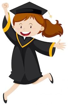 Femme en robe noire de graducation