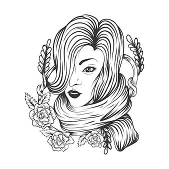 Femme rose décoration de fleur