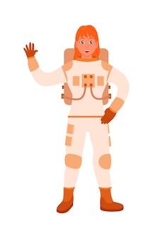 Femme rousse astronaute agitant la main sur fond blanc