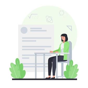 Femme s'asseoir et faire l'examen dans le bureau