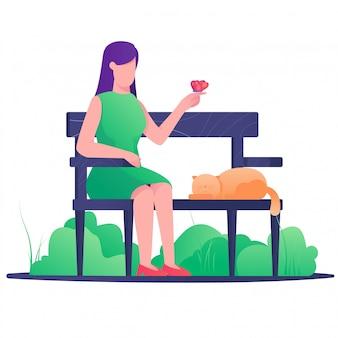 Femme s'asseoir sur le parc de la chaise avec illustration papillon