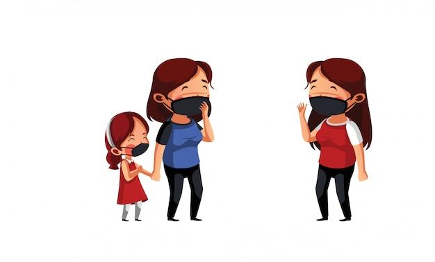Une femme avec sa fille porte un masque et discute avec son voisin
