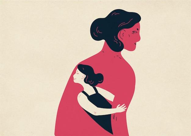Femme et sa petite copie se cachant sous son bras et regardant dehors