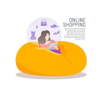 Femme sur le sac de haricot canapé achats en ligne