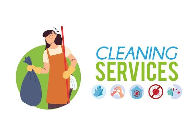 Femme avec sac pour le service de nettoyage ector illustration desing