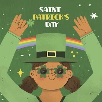 Femme de la saint-patrick vêtue de vert et d'arcs-en-ciel