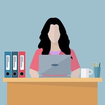 Femme salariée sur l'illustration vectorielle de lieu de travail